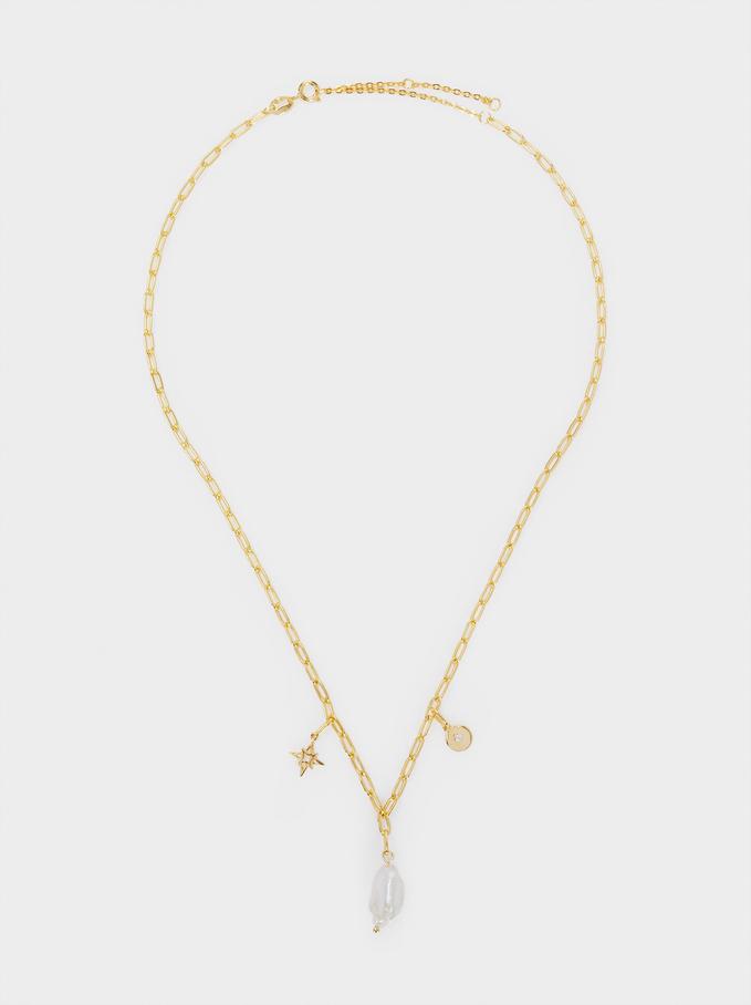 Collar Corto De Plata 925 Con Perla, Beige, hi-res