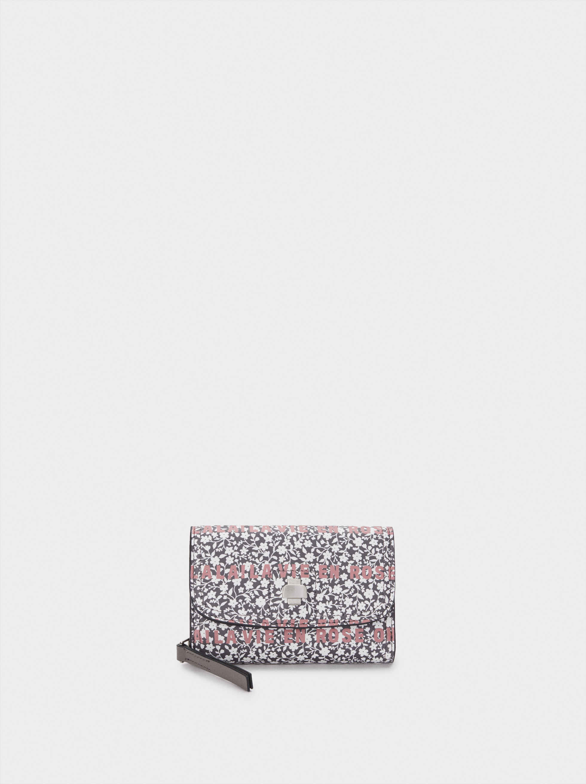 Floral Print Purse, Grey, hi-res
