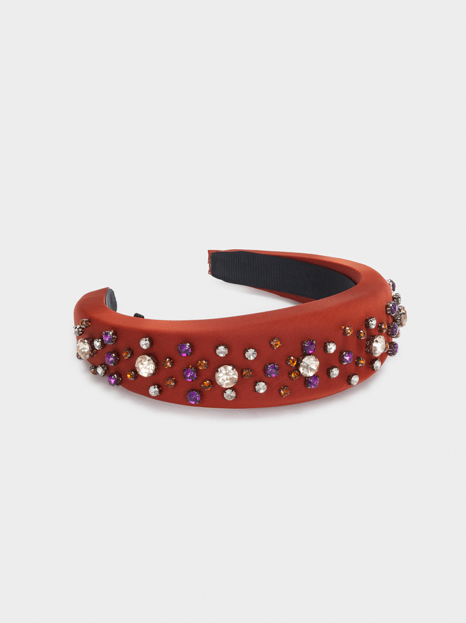 Headband With Contrast Rhinestones, Brick Red, hi-res