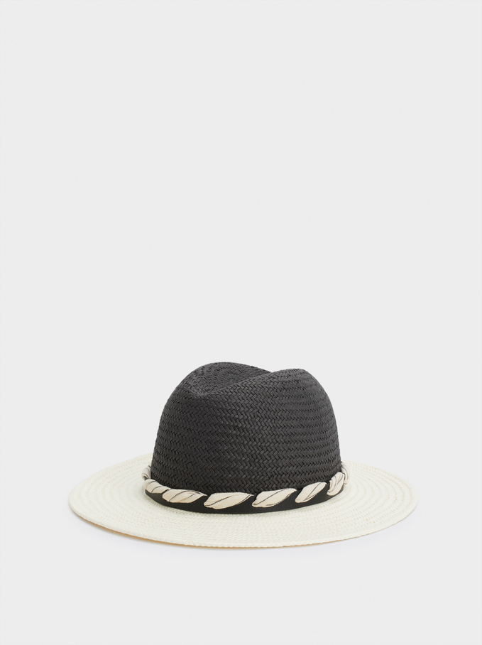 Braided Hat With Contrast Band, Black, hi-res