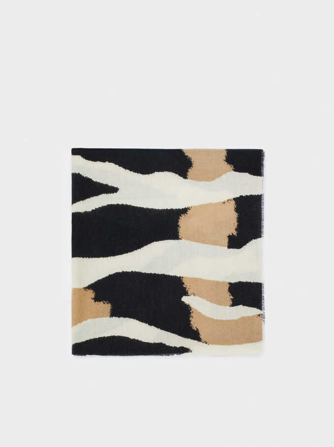 Animal Print Maxi Scarf, Black, hi-res