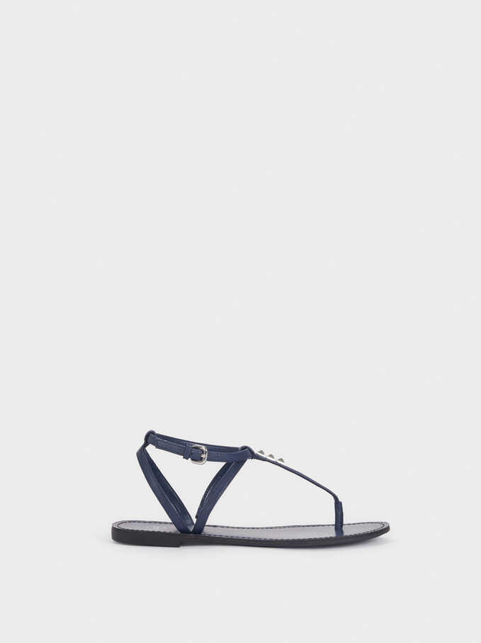 Flat Sandals With Stud Details, Navy, hi-res
