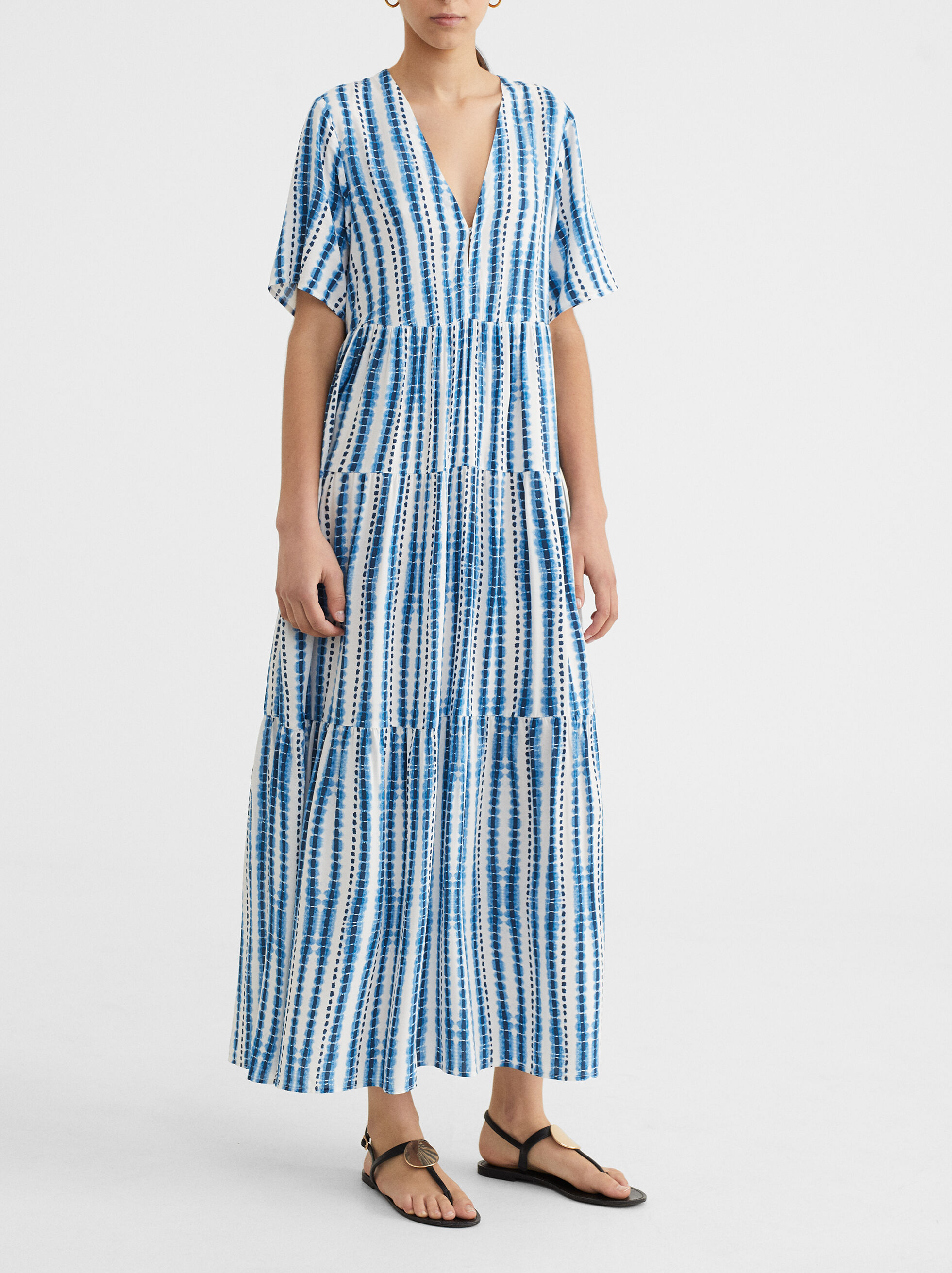 V-Neck Dress With Full Skirt, , hi-res