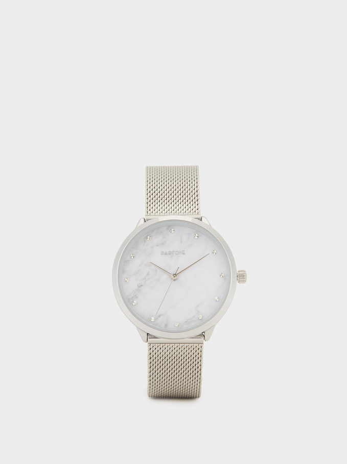 Watch With Marble-Effect Face, Silver, hi-res