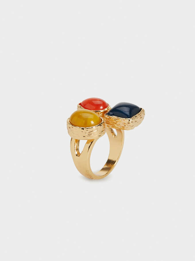 Bambu Ring With Stones, Multicolor, hi-res