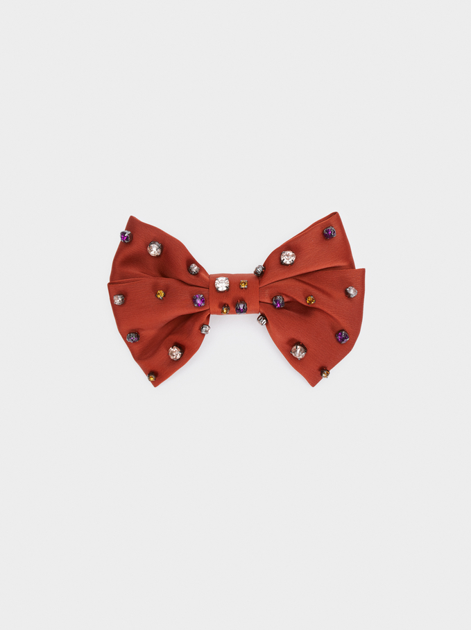 Bow Hairclip With Rhinestones, Brick Red, hi-res