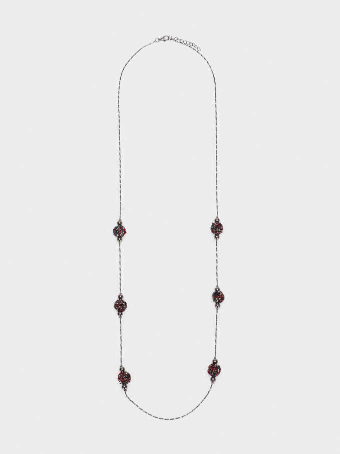 Long Necklace With Crystals, Bordeaux, hi-res