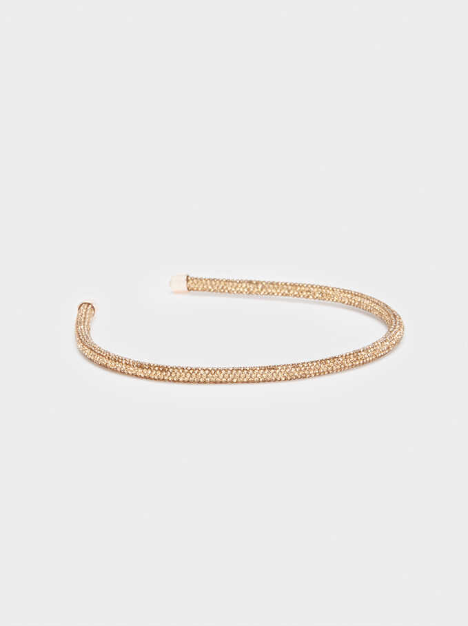 Thin Headband With Rhinestones, Golden, hi-res