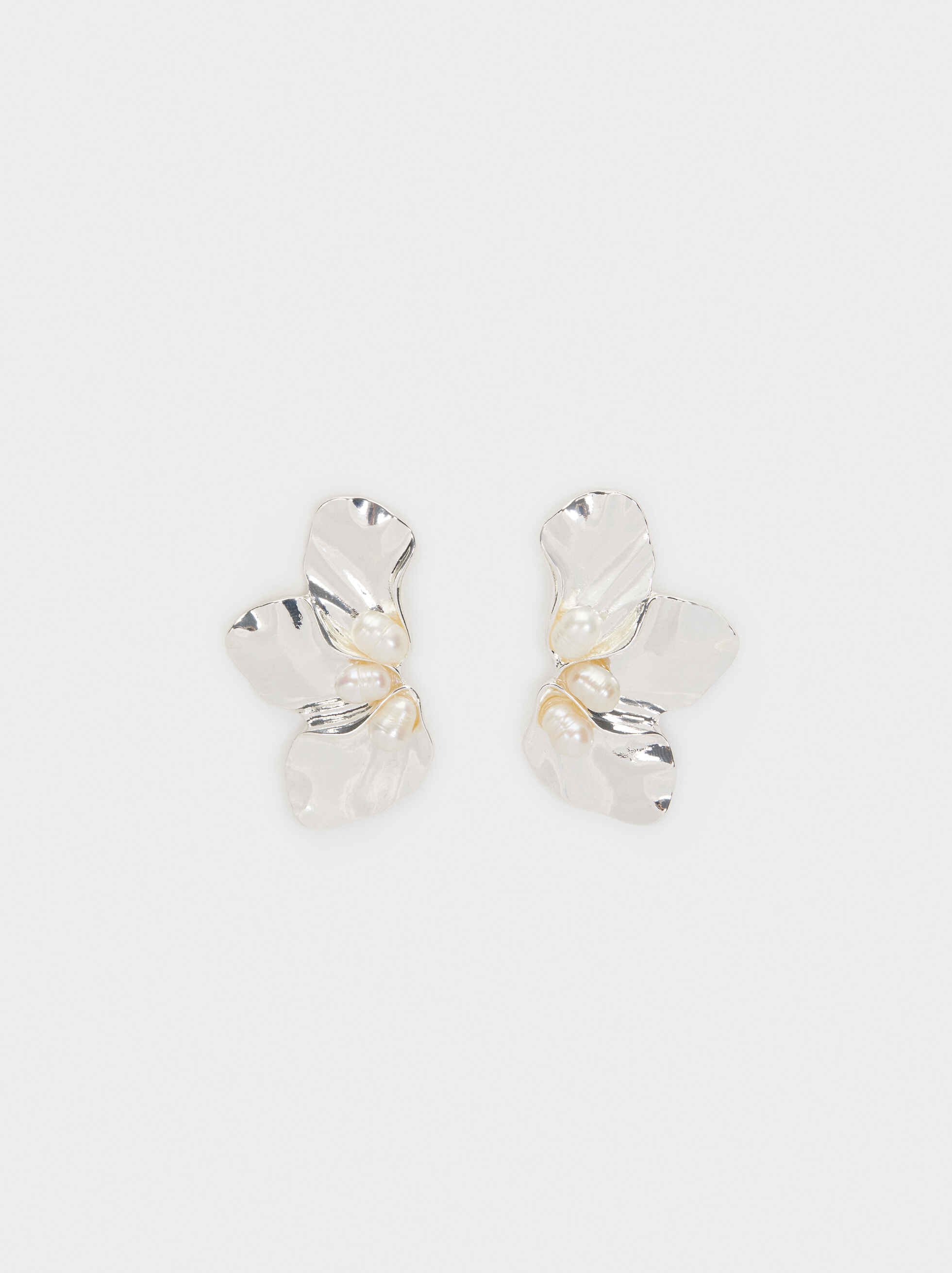 Short Gold Earrings With Faux Pearl Detail, , hi-res