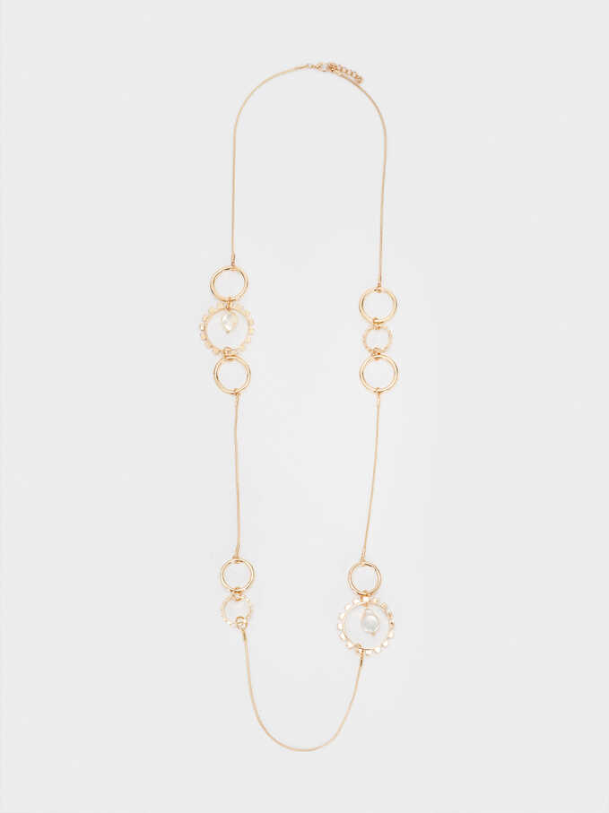 Long Gold-Toned Necklace With Pearls, Golden, hi-res