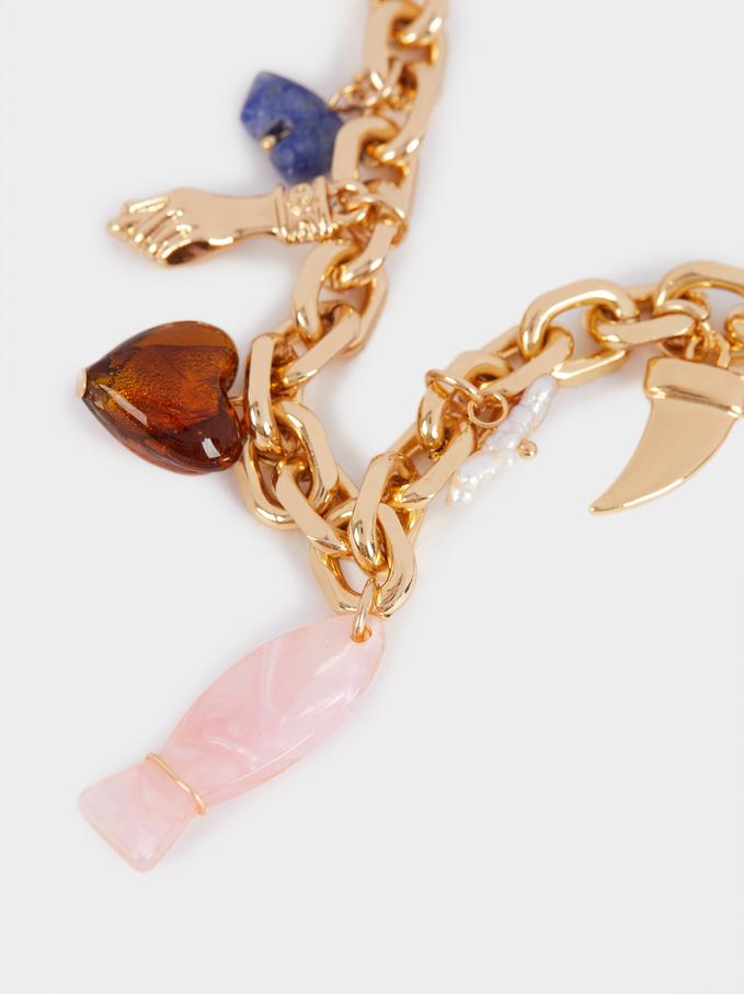 Multicoloured Charm Bracelet, Multicolor, hi-res