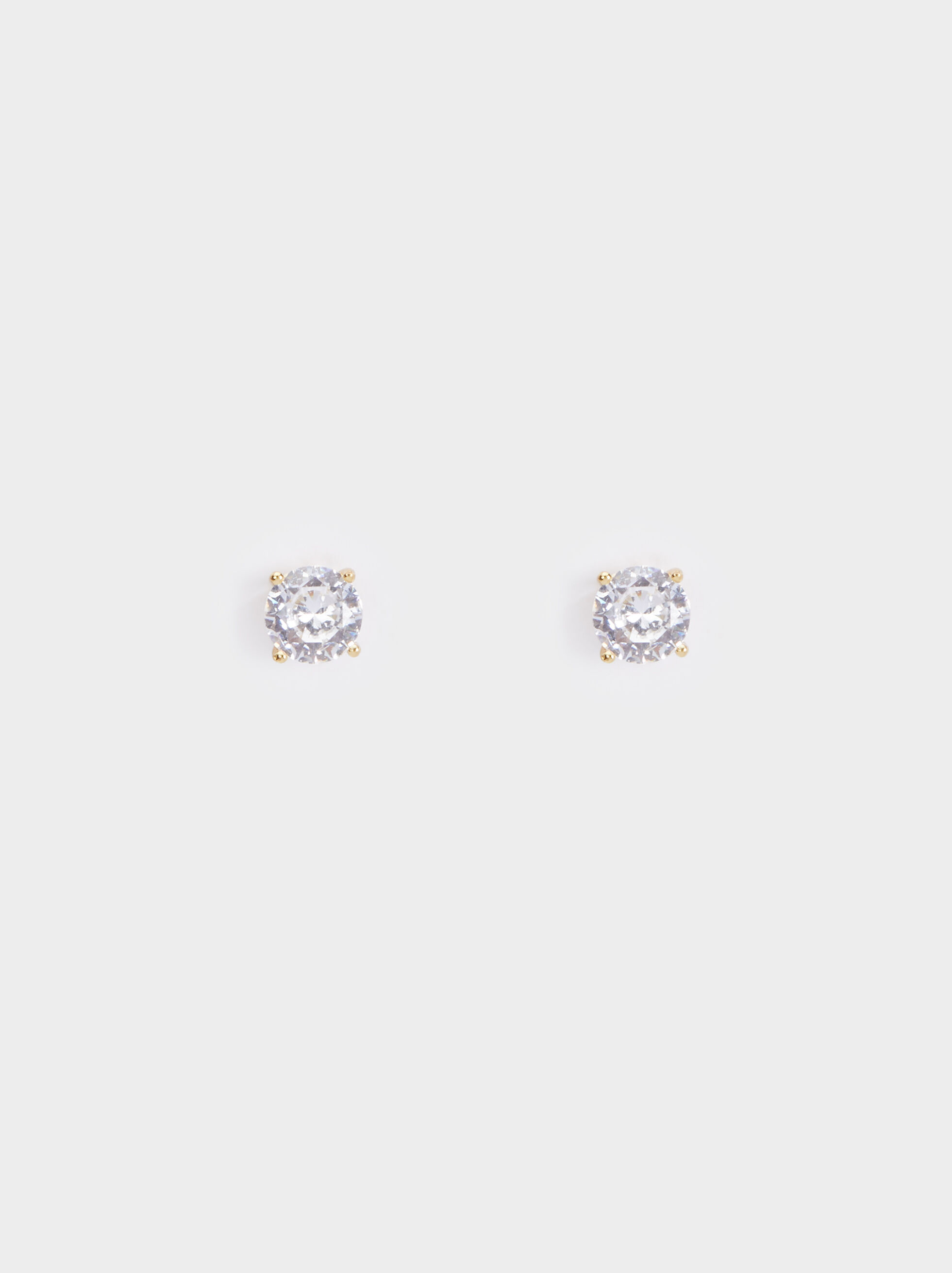 925 Silver Short Rhinestone Earrings, , hi-res