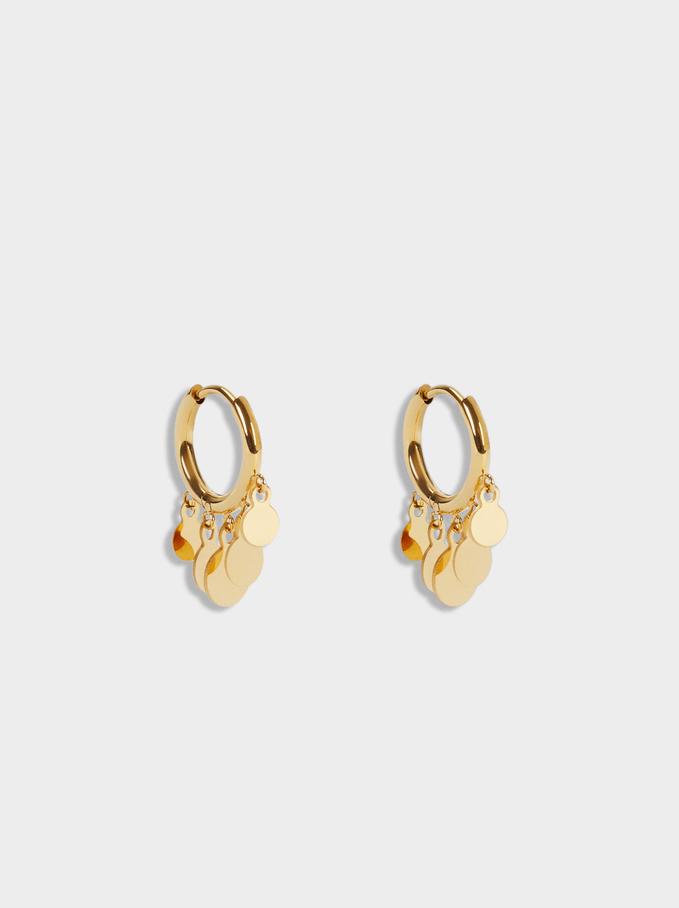 Short Stainless Steel Hoops With Pendants, Golden, hi-res