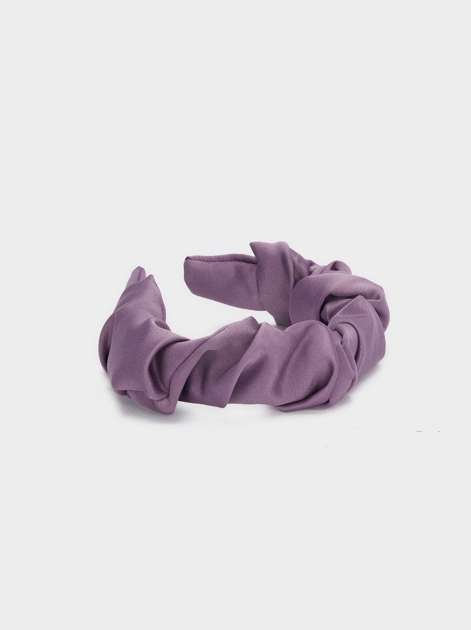 Wide Quilted Headband, Purple, hi-res