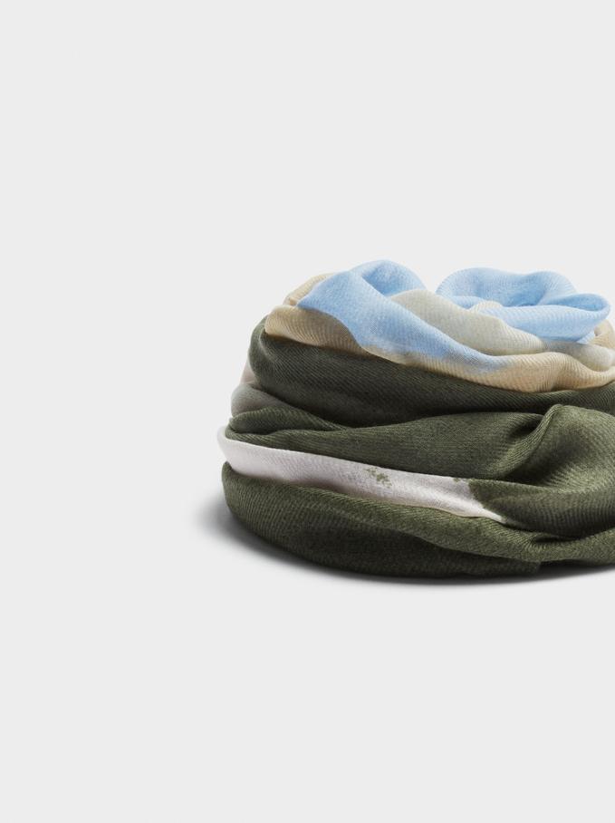 Foulard Imprimé Confectionné À Partir De Matières Recyclées, Bleu, hi-res