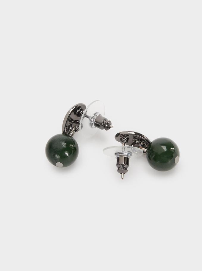 Stone Stud Earrings, Green, hi-res