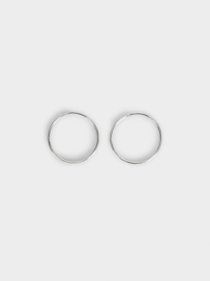 Basic Short Hoop-Earrings, Silver, hi-res