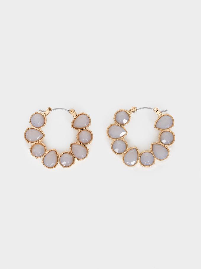 Small Crystal Hoop Earrings, Pink, hi-res