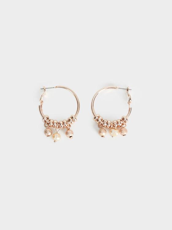 Pink Desert Medium Hoop Earrings With Pendants, Orange, hi-res