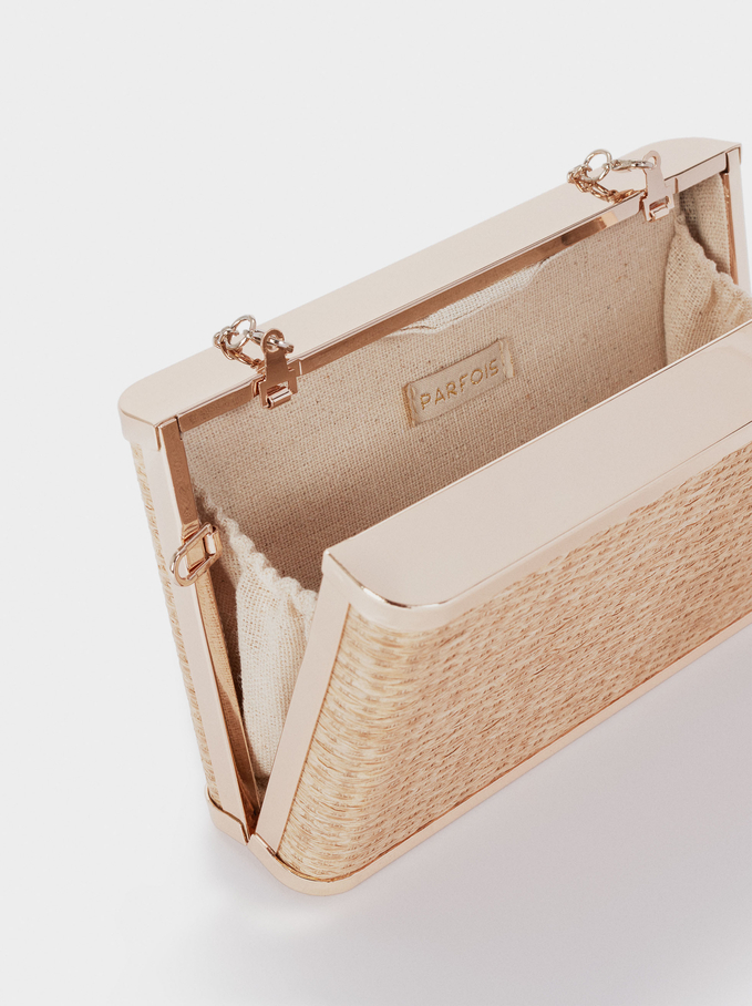 Straw Finish Clutch, Ecru, hi-res
