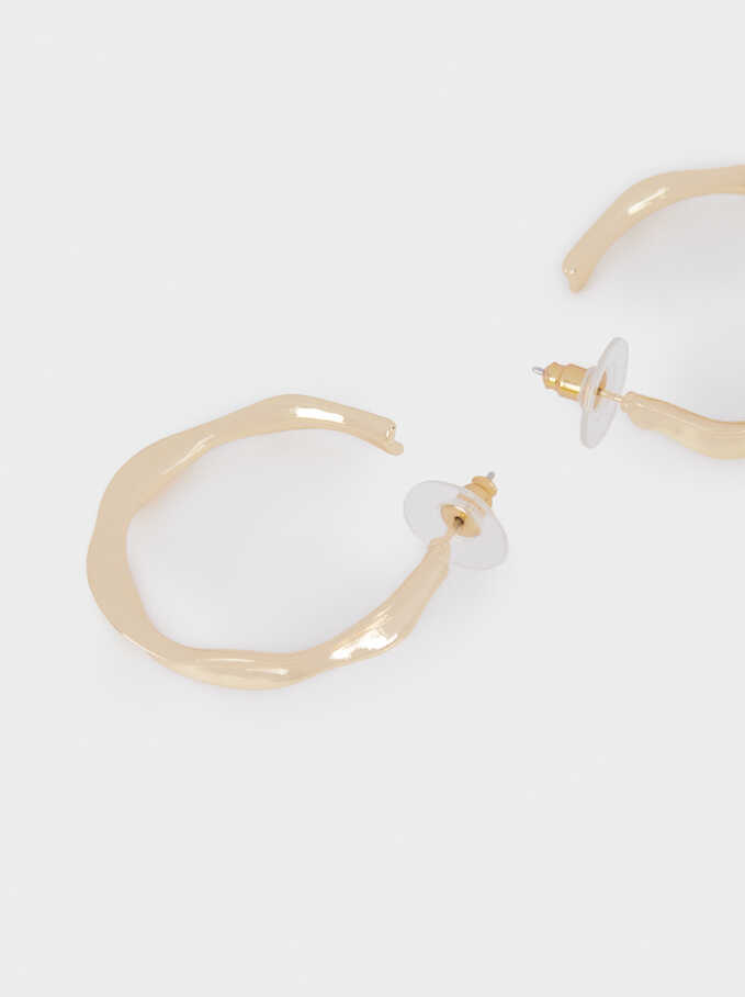 Irregular Hoop Earrings, Golden, hi-res