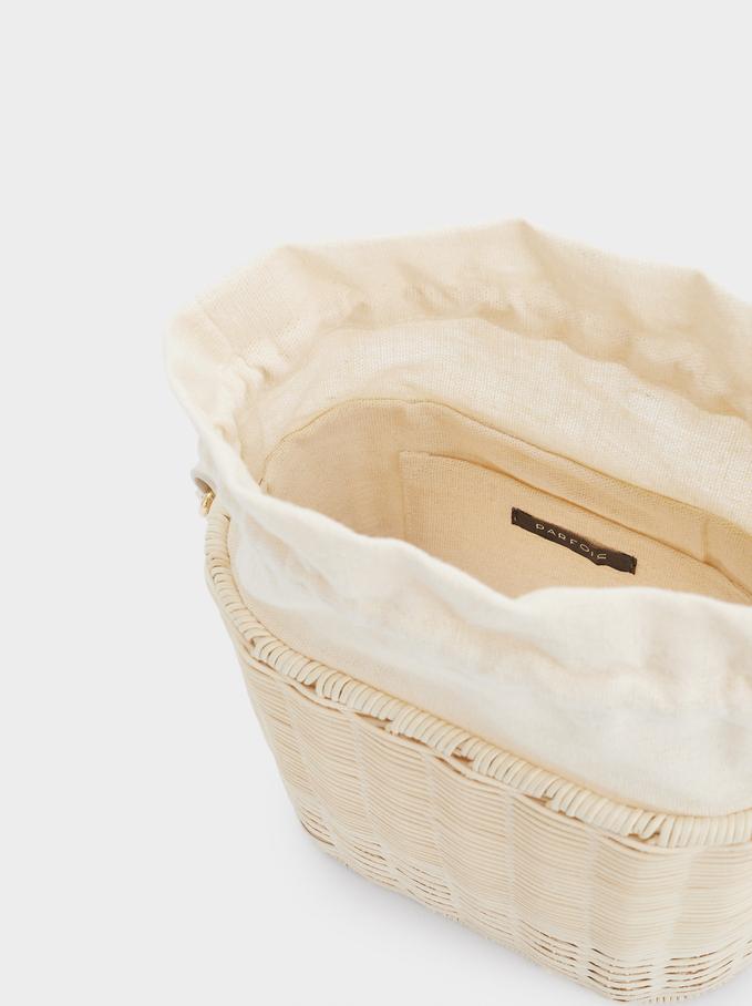 Rattan Bucket Bag, Beige, hi-res