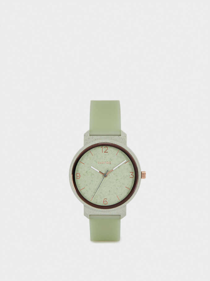 Watch With Silicone Wristband, Green, hi-res