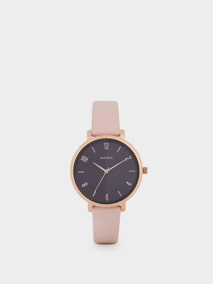 Reloj Correa Textura Piel, Rosa, hi-res