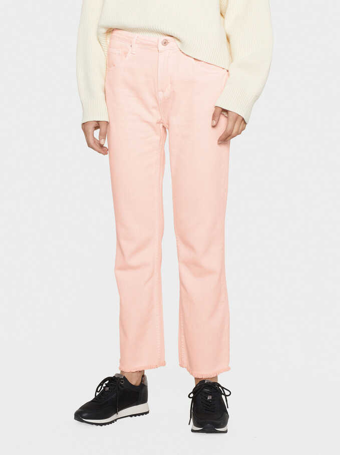 Denim Trousers With Frayed Turn-Ups, Coral, hi-res