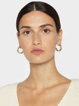Stone Story Medium Hoop Earrings With Beading, Multicolor, hi-res