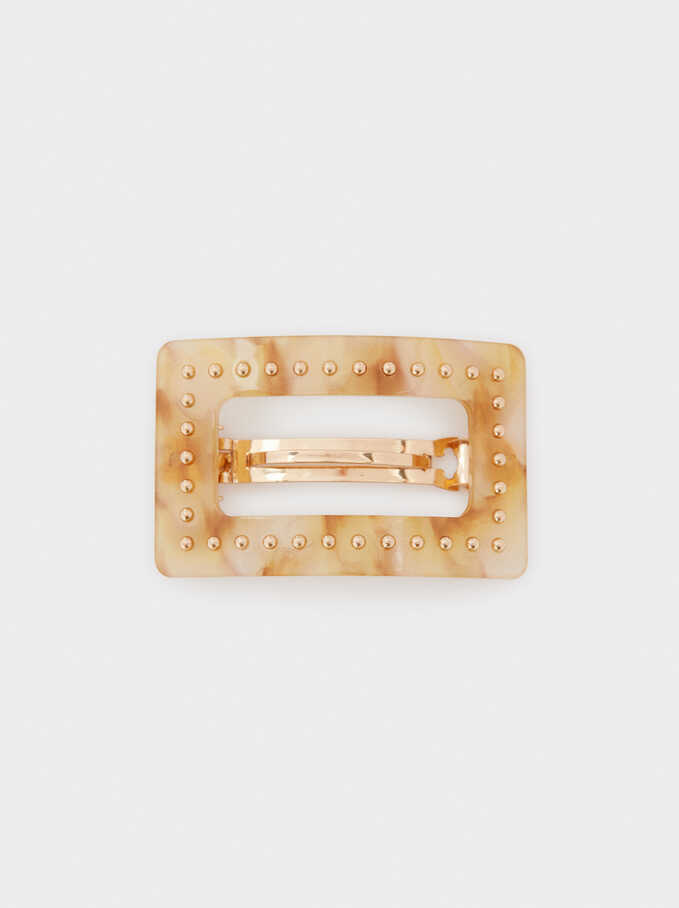 Mother-Of-Pearl Textured Hair Clip, Golden, hi-res
