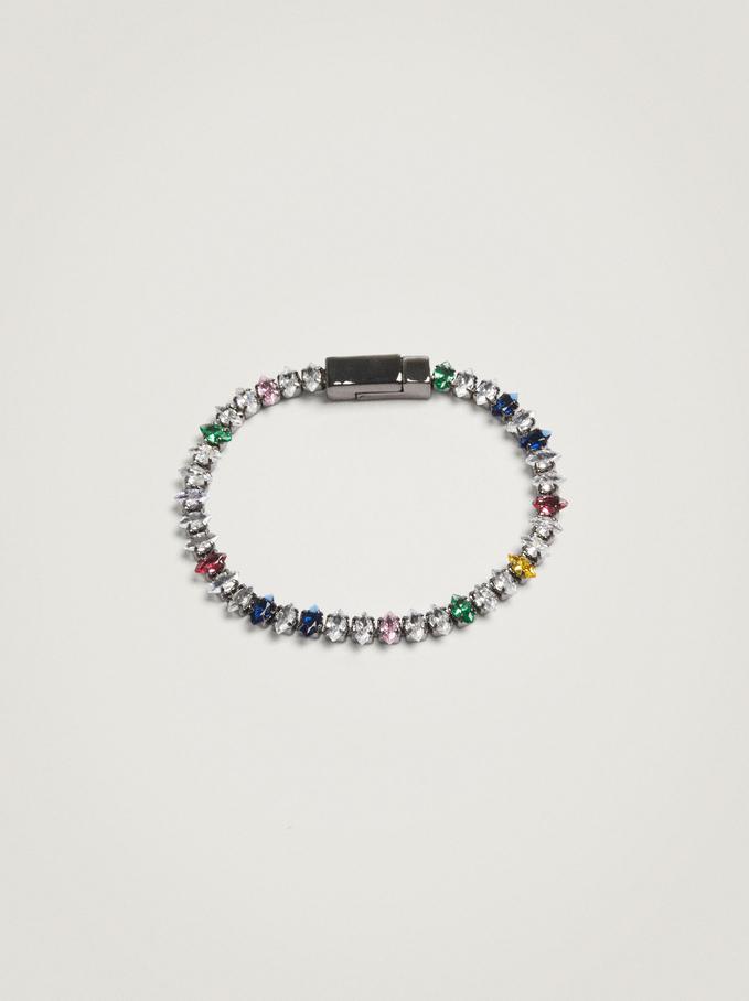 Bracelet With Zirconia, Multicolor, hi-res