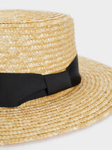 Straw Hat With Contrast Band, Beige, hi-res
