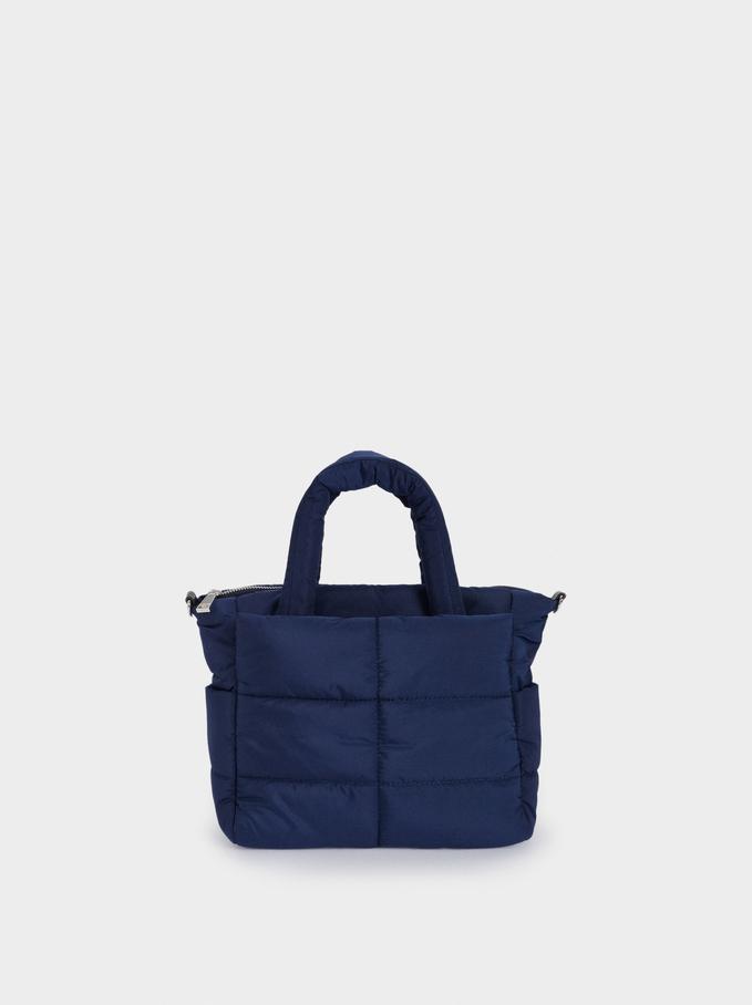 Sac Shopper Matelassé En Nylon, Bleu Foncé, hi-res