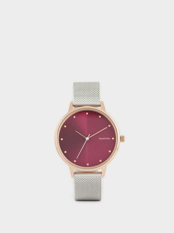 Zegarek Z Paskiem Z Metalowej Plecionki, Srebrny, hi-res