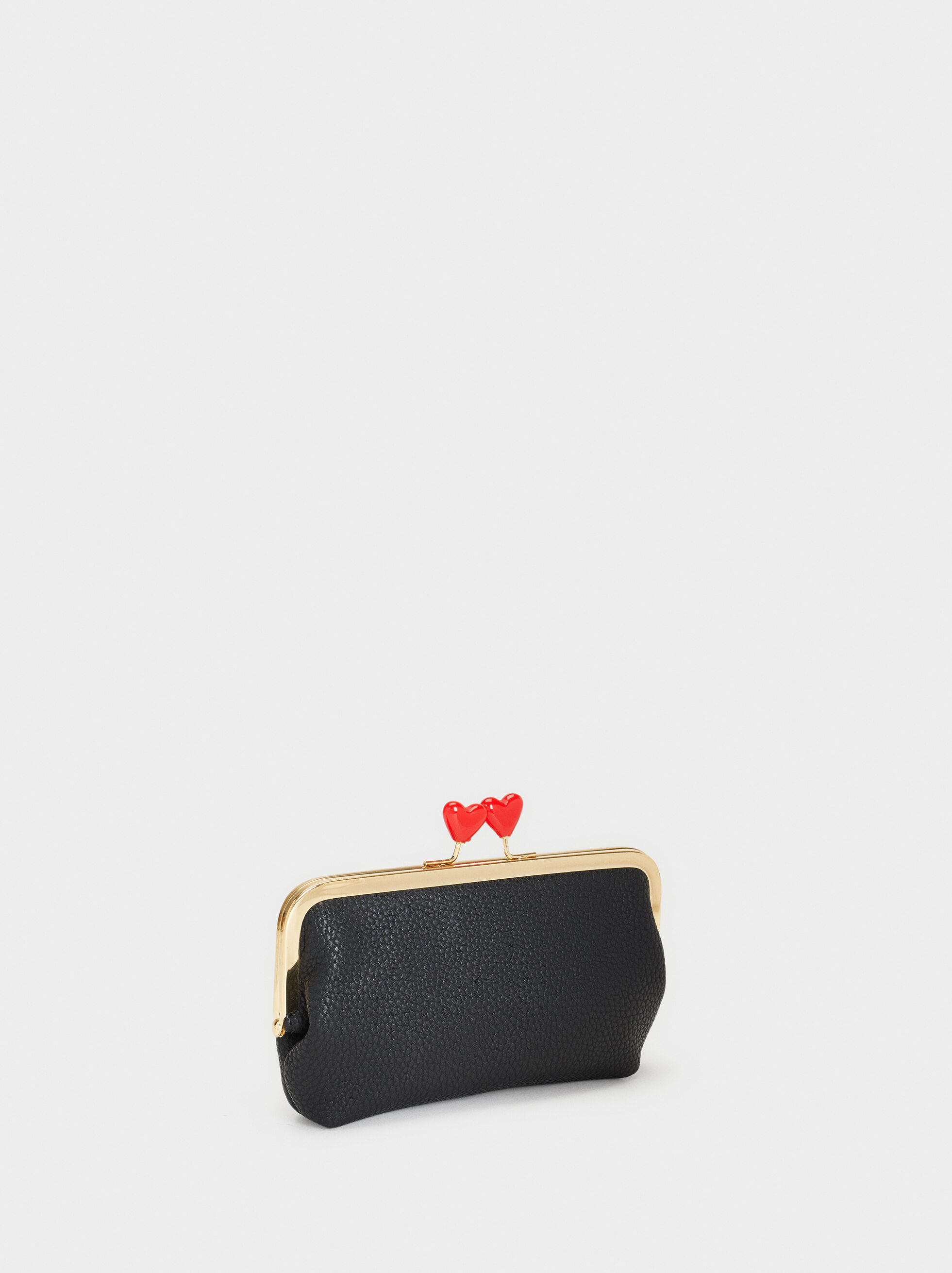 We Are Love Print Small Purse, Black, hi-res