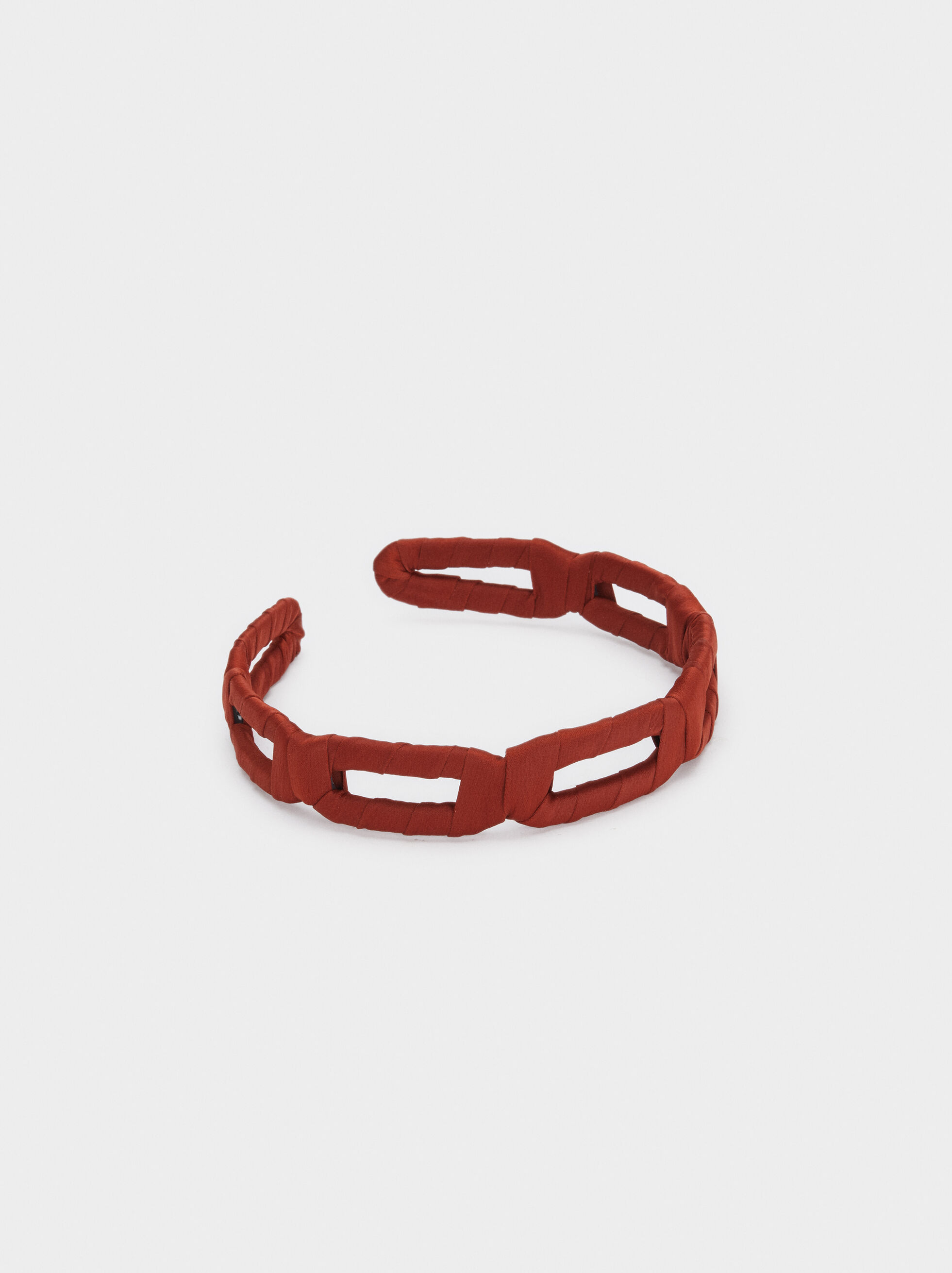 Rigid Fabric Headband, Brick Red, hi-res
