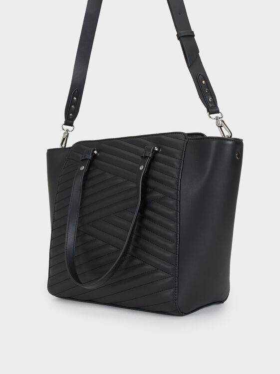 Quilted Tote Bag, Black, hi-res