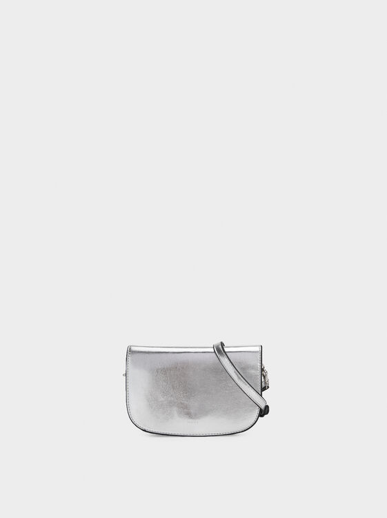 Metallic Crossbody Belt Bag, Silver, hi-res