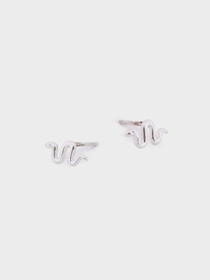 Short 925 Silver Snake Earrings, Silver, hi-res