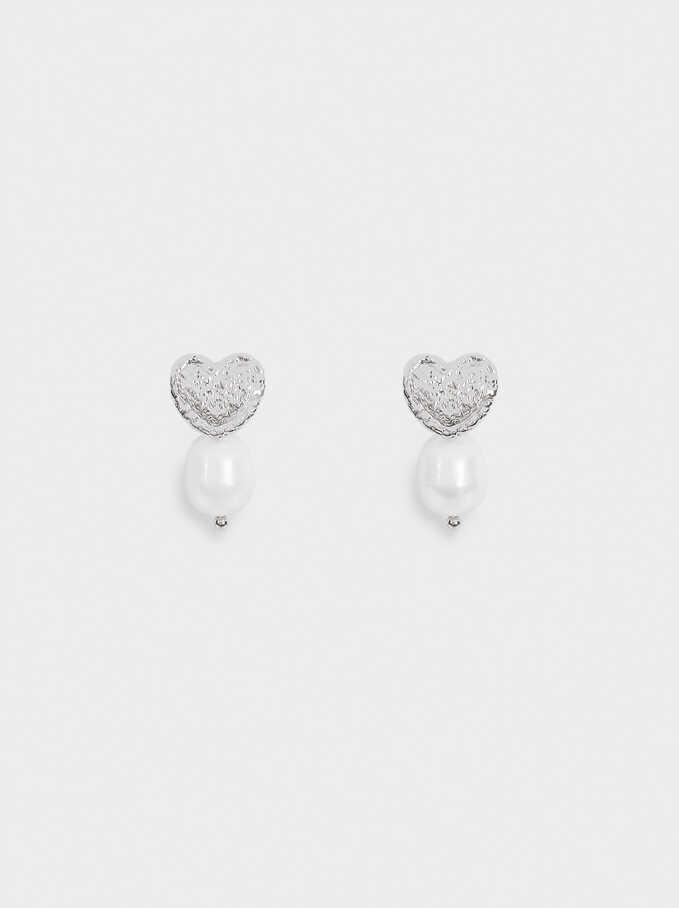 Boucles D'Oreilles Courtes Avec Perle Et Cœur , Argent, hi-res