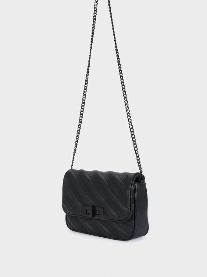 Crossbody Bag With Chain Strap, Black, hi-res
