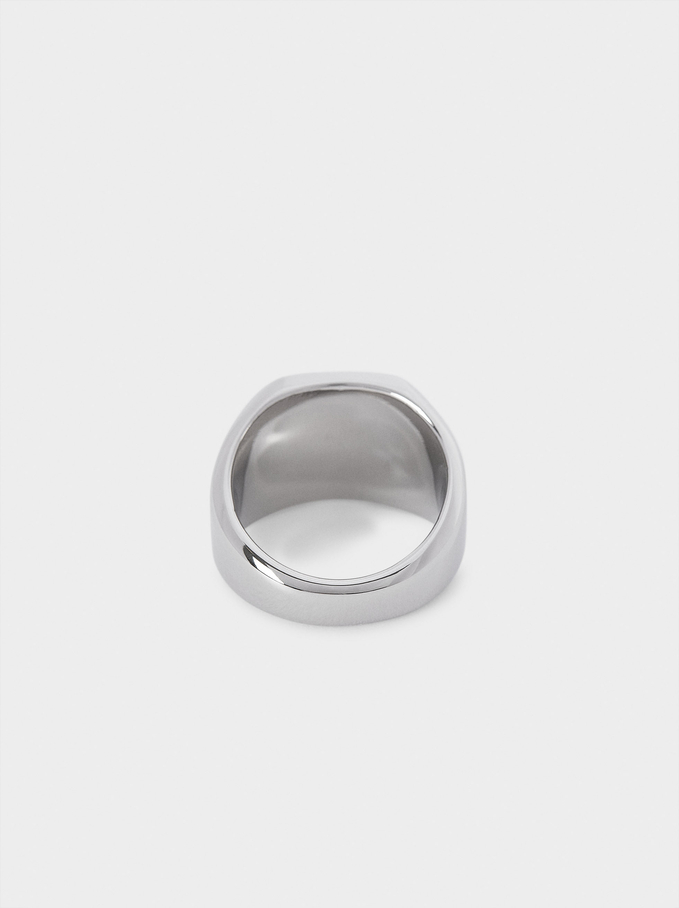 Stainless Steel Signet Ring, Silver, hi-res