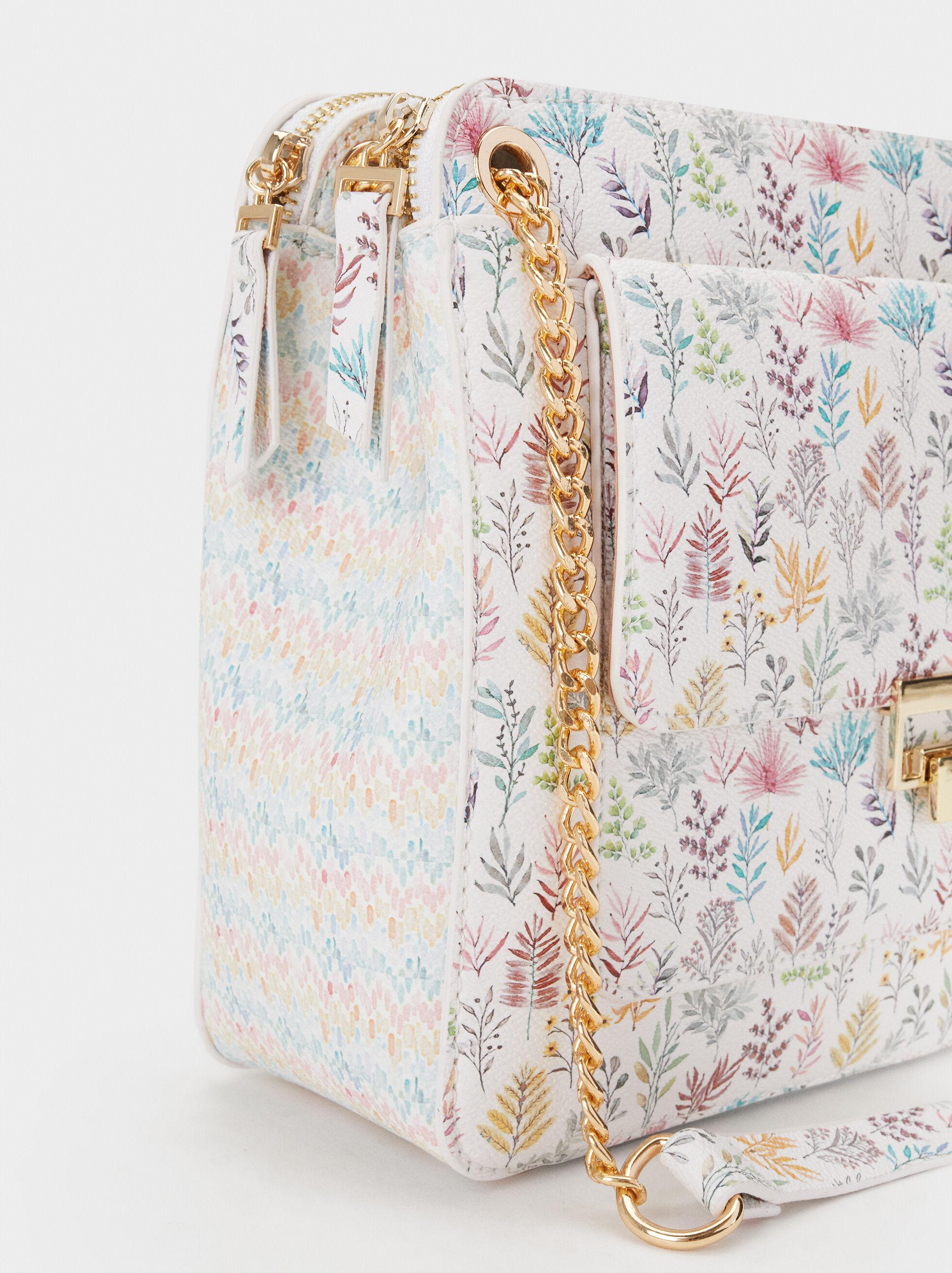 Floral Print Crossbody Bag, Pink, hi-res