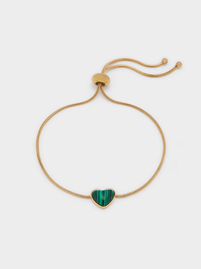 Pulsera Ajustable De Acero Y Piedra Corazón, Verde, hi-res