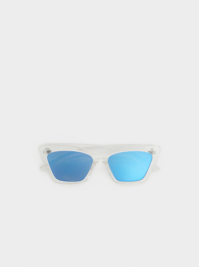 Resin Sunglasses With Chain, Grey, hi-res