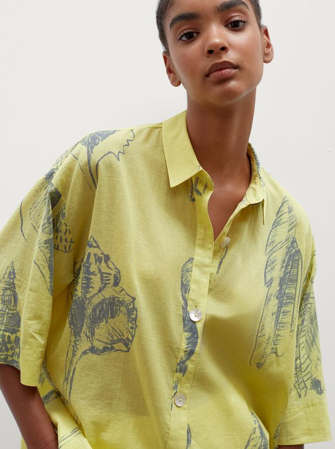 100% Cotton Printed Shirt, Yellow, hi-res