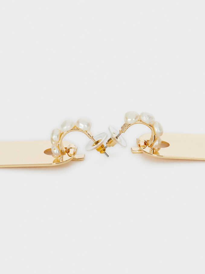 Hoop Earrings Pearls With Pendants, White, hi-res