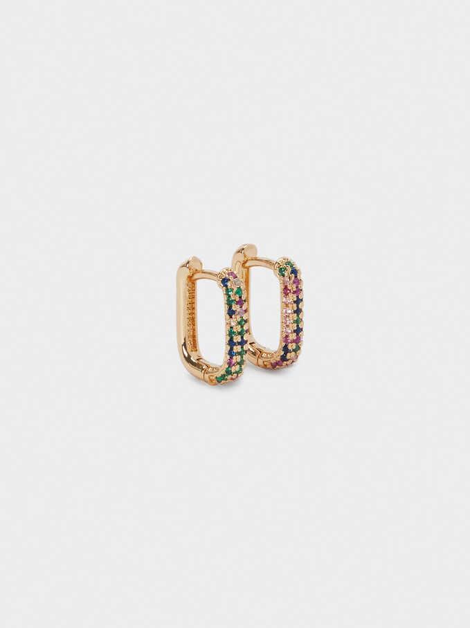 Small Hoop Earrings With Zirconia, Multicolor, hi-res