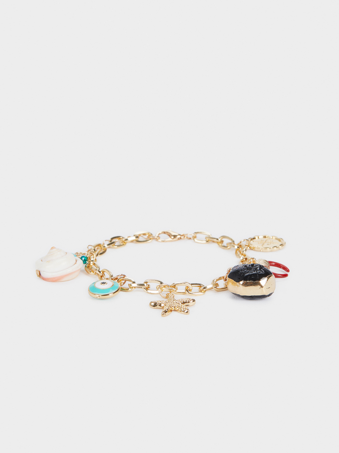 Gold Bracelet With Beads , Multicolor, hi-res